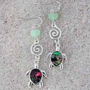 Jewelry - Faux Abalone Turtle & Sea Glass Earrings